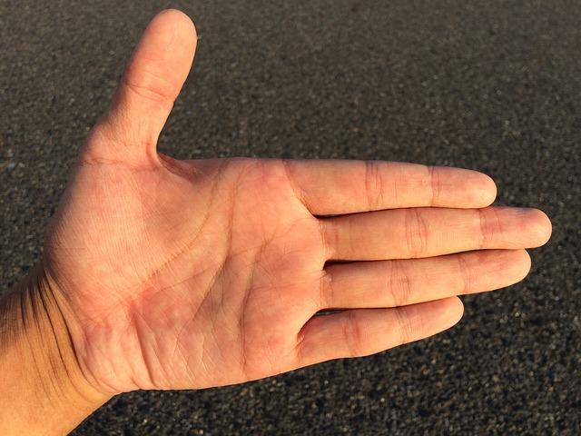 mužská dlaň